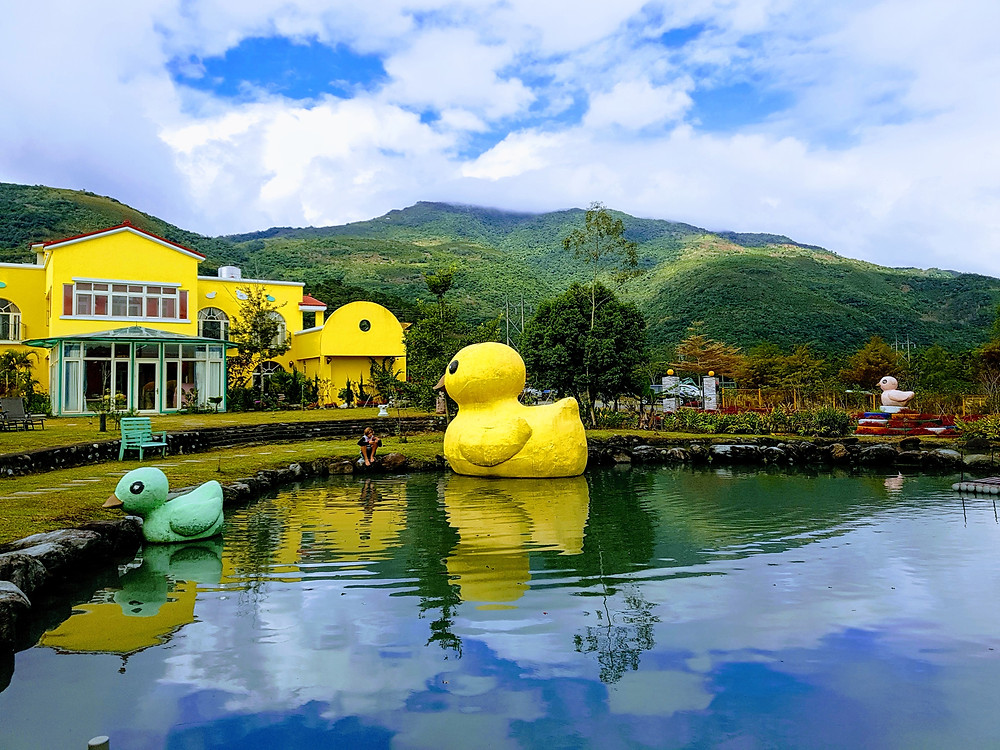 giant yellow duck in a calm pond