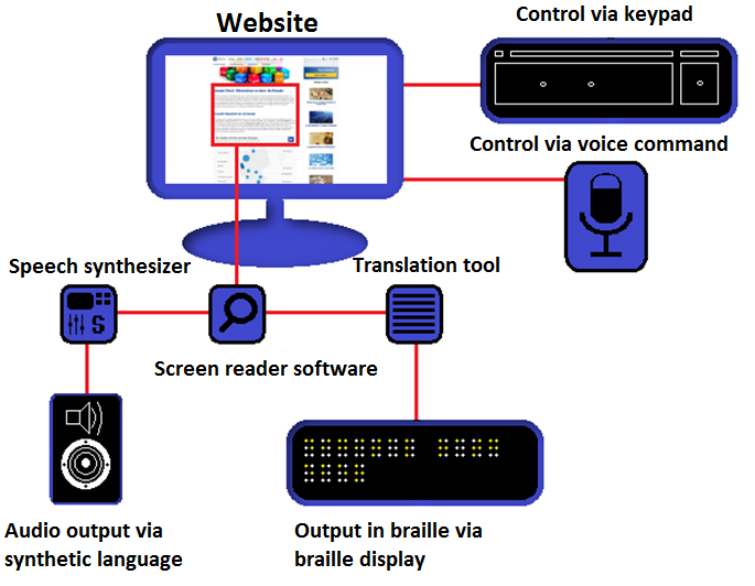 The image shows the functioning of a screen reader and its controls and outputs, such as voice command or keypad control and audio or braile display output