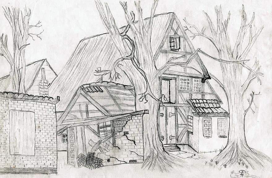A detailed drawing of a farm with some trees in the scene, recalling the concept of a description through alt text