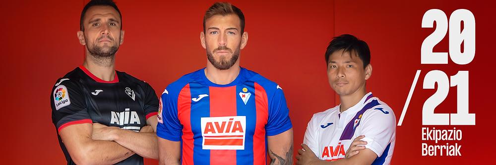 Eibar presenting their football shirts for season 20/21 on Facebook