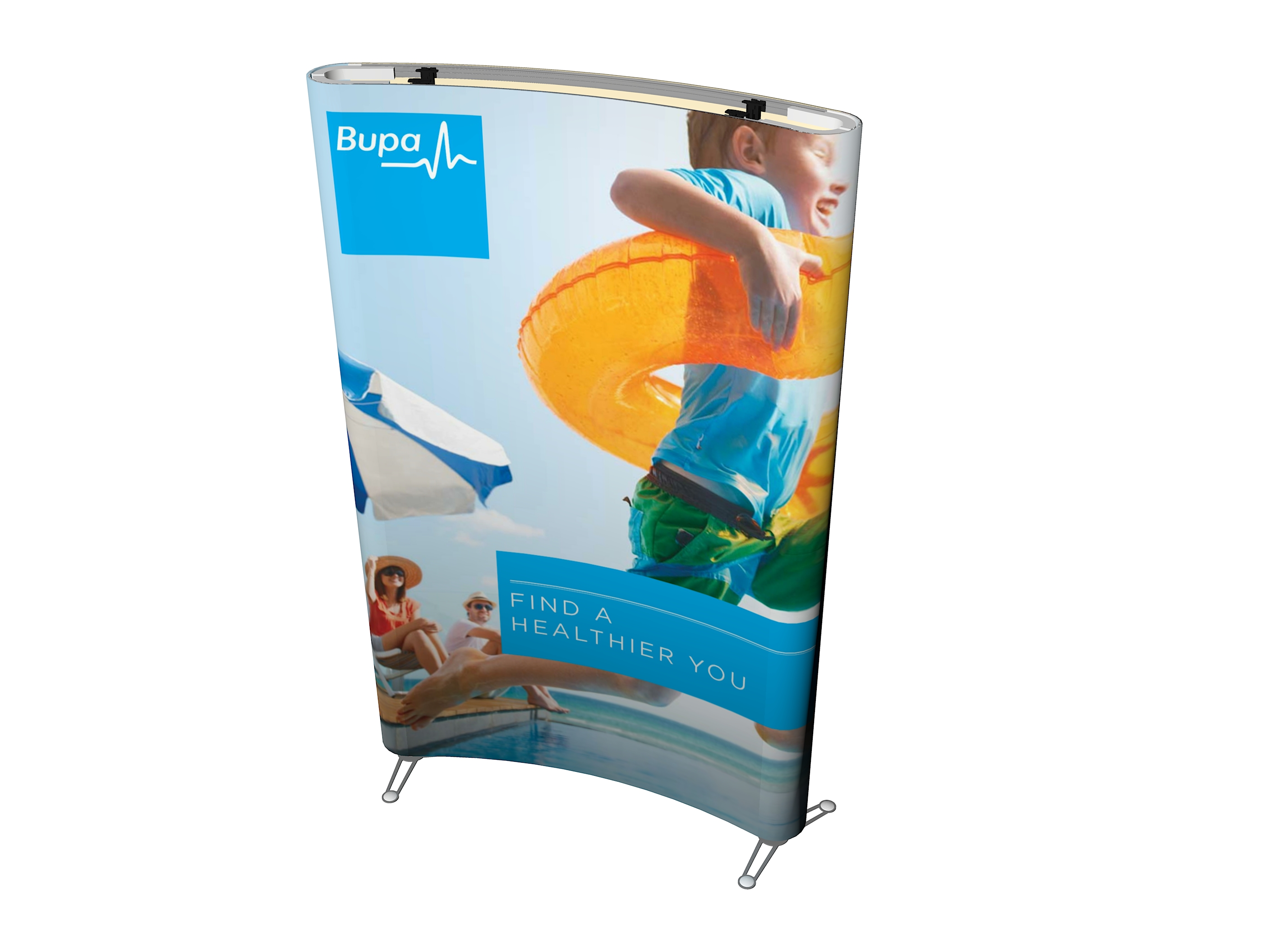 Curved banner stand