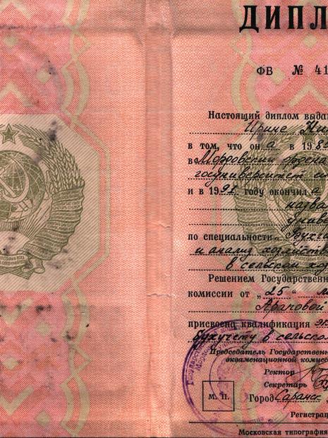 Диплом Араповой Ирины Николаевны