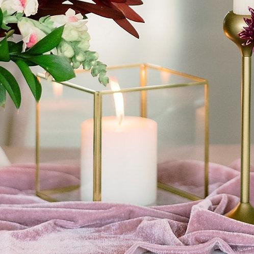 Gold Geometric Candle Holder Set of 2