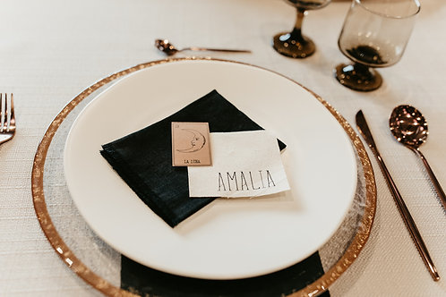 Custom-Made Personalized Linen and Stamp Name Tags