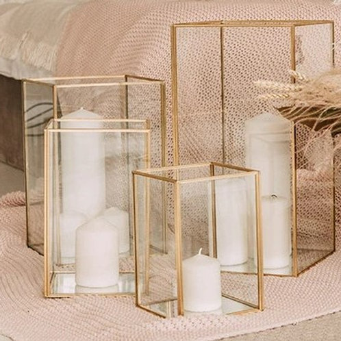 """Gold rectangle candle holder 7"""""""