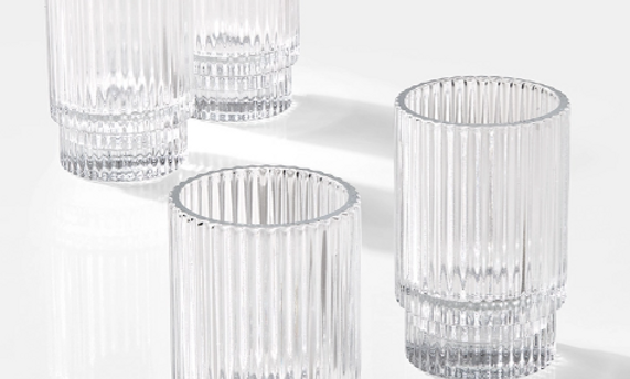 """Clear pleated votive, 3"""""""