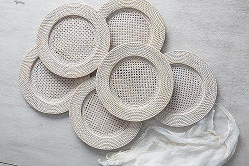 Whitewash Rattan Charger Plates