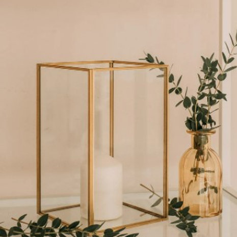 """Gold rectangle candle holder 9"""""""