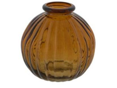 Amber round bud vase