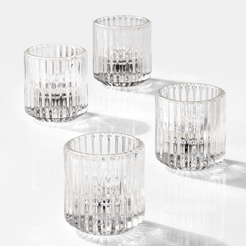 Clear Pleated Taper/Tealight Holder
