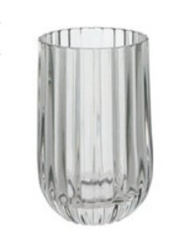 Gray ribbed candle holder