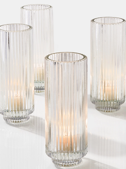 """Clear pleated votive, 5"""""""