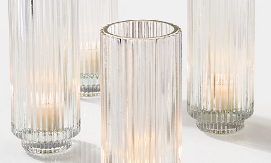 """Clear pleated votive, 6"""""""