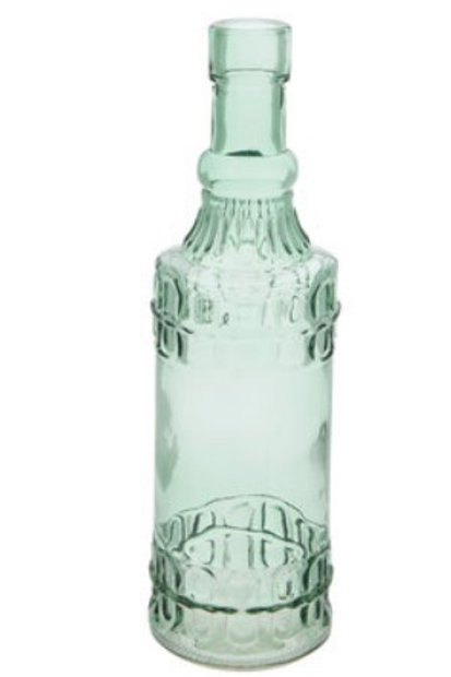 Green abstract glass bottle