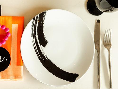 White Brushed Dinner Plate