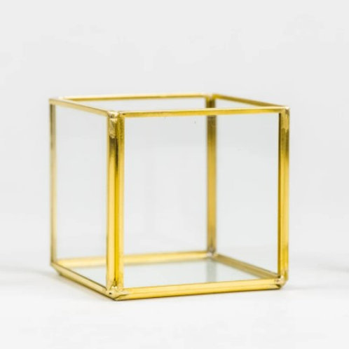 """Gold square candle holder 3"""""""