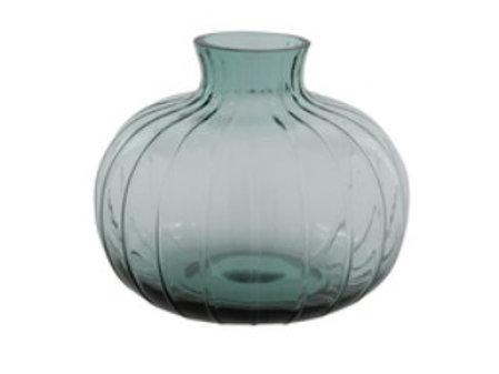 Blue round ribbed vase