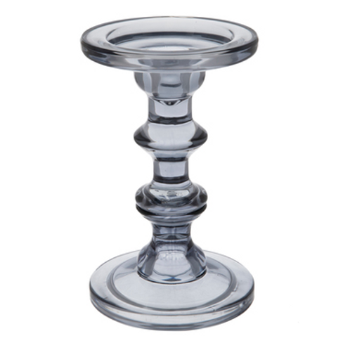 Gray Glass Candle Holder Set