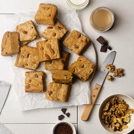 Coffee, Pecan, Walnut and Chocolate Blondies
