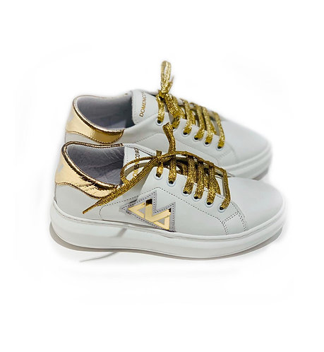 Sneakers 100% Leather Made in Italy White and Gold with Gold Laces