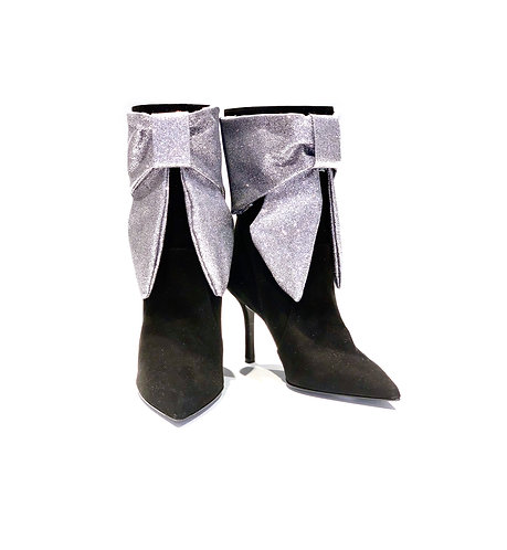 Suede Ankle Boots Glitter Silver