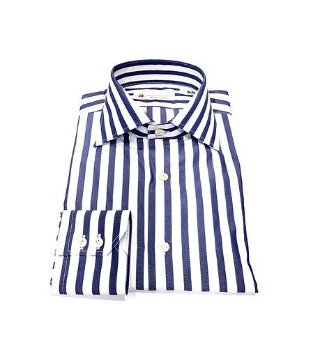 1 Button Shirt White & Blu Stripes