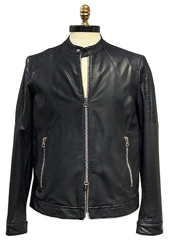 Leather jacket with shoulder pads black