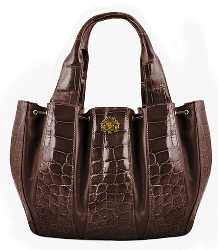 Julie Bag Crocodile Open Brown