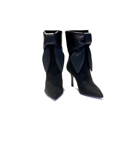Suede and Satin Ankle Boots Black