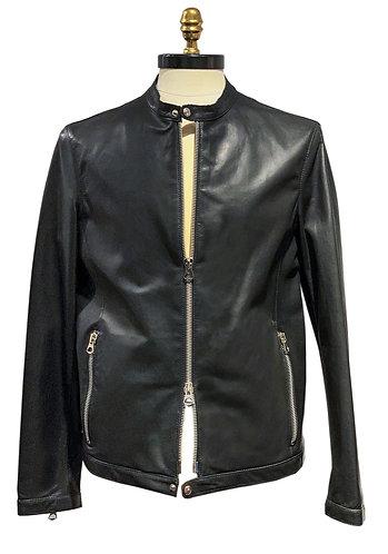Leather Motorcycle Jacket  black