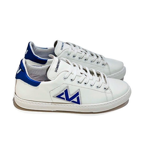 Sneakers 100% Leather Made in Italy White and Blue with White Laces