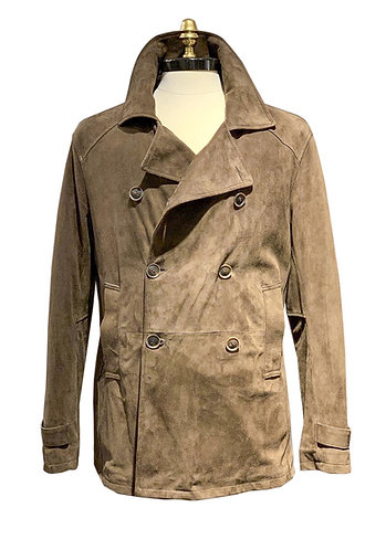 Suede Leather Double Breasted Peacoat Beige