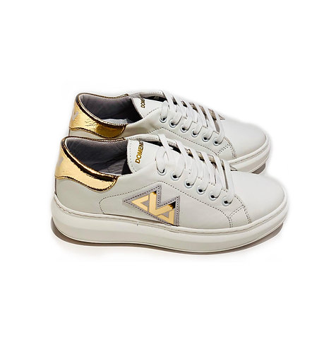 Sneakers 100% Leather Made in Italy White and Gold with White Laces