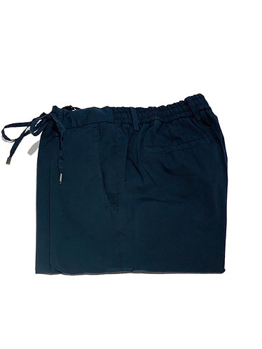 Stretch Cotton Pants with Strings - Made in Italy - Navy Blue