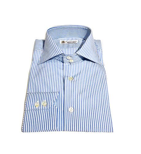 2 Button Shirt White & Light Blu Stripes