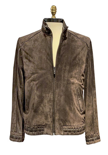 Suede Leather Jacket with Leather Piping Brown