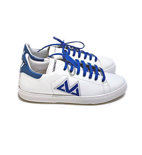 Sneakers 100% Leather Made in Italy White and Blue with blue laces