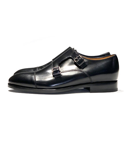 Leather Double Monk Shoes Black