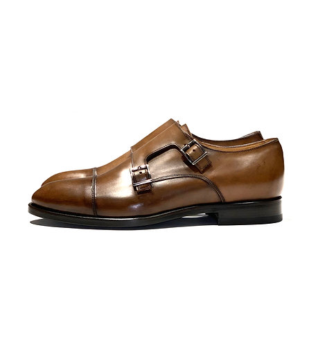 Leather Double Monk Shoes Brown