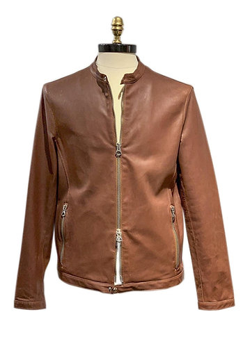Boston Leather Motorcycle Jacket Brown