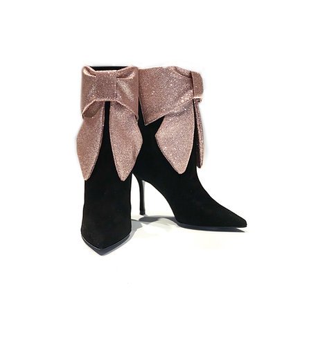 Suede Ankle Boots Glitter Pink