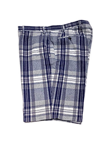 Madras Cotton Bermuda - Made in Italy - White and Blue