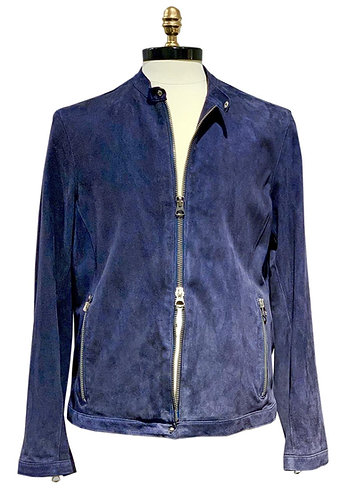 Suede Leather Motorcycle Jacket Blue