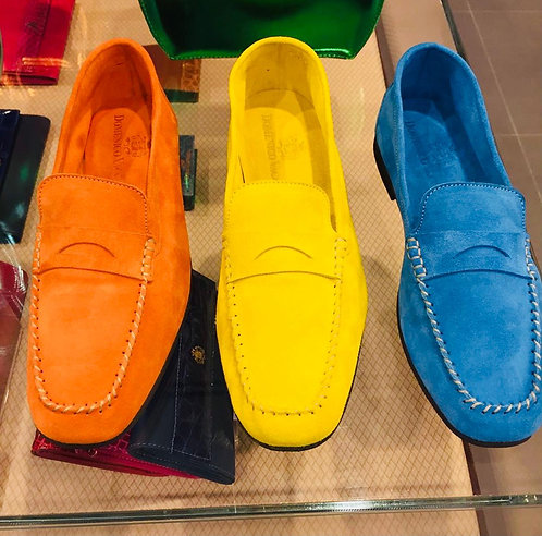 Suede leather unlined mocassins