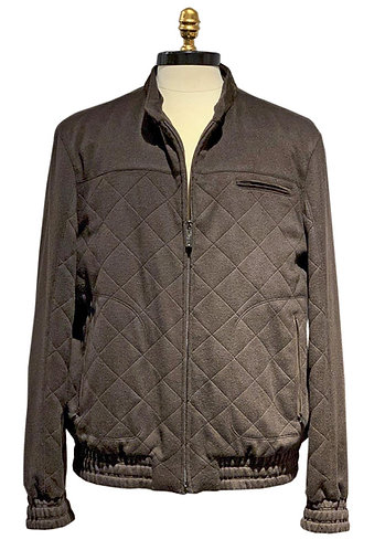 Quilted Suede Leather Bomber Jacket with Mink Lining