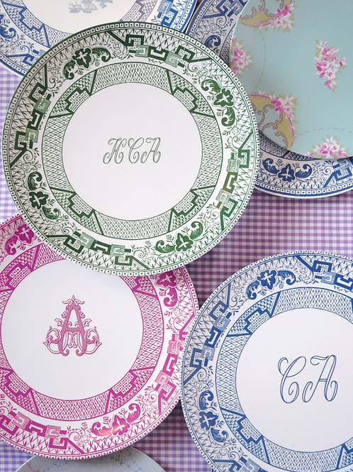 Personalized Bates Melamine Plates, Set of Four