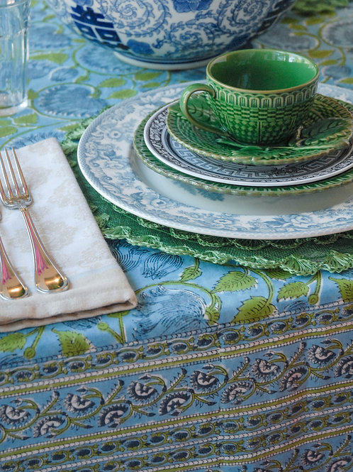 Emma Block-Print Tablecloth