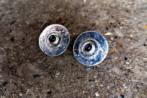 Textured Silver gold & Sapphire Studs