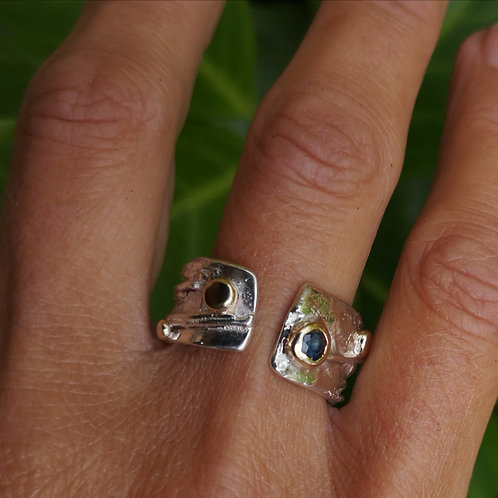 Silver, Gold & Sapphire Ring