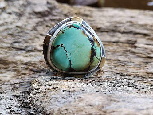 Turquoise Silver 18 carat gold Ring